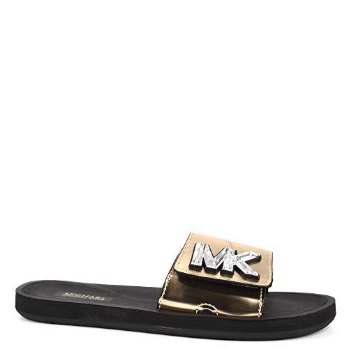 Michael Kors Michael by MK Metallic Pale Gold Sandales à Bride en PVC doré, Sandales pour Femme 37 Or