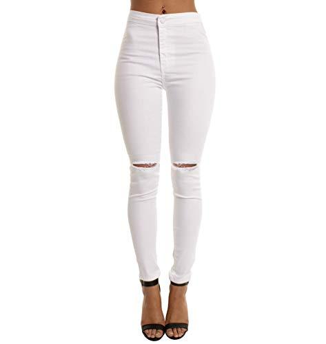 Cayuan donna strappati jeans pantaloni a vita alta skinny elastico denim pantaloni jeans leggings pantalone a matita casuale bianca