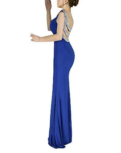 Babyonlinedress Sexy Elegant Robe de Soirée/Bal/Cérémonie Forme Fourreau Sirène/Trompette Longue ras au sol Dos Nu avec Crystal en Satin Bleu Royal
