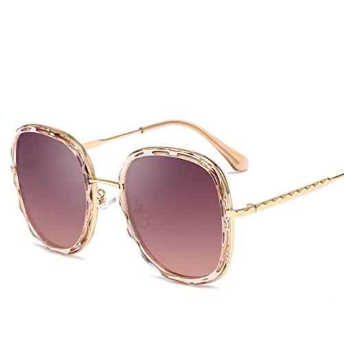 YWYU Neue europäische und amerikanische Trend Sonnenbrille Metall Wave Spiegel Runde Rahmen Sonnenbrille Mode Unisex Sonnenbrille (Farbe : E)