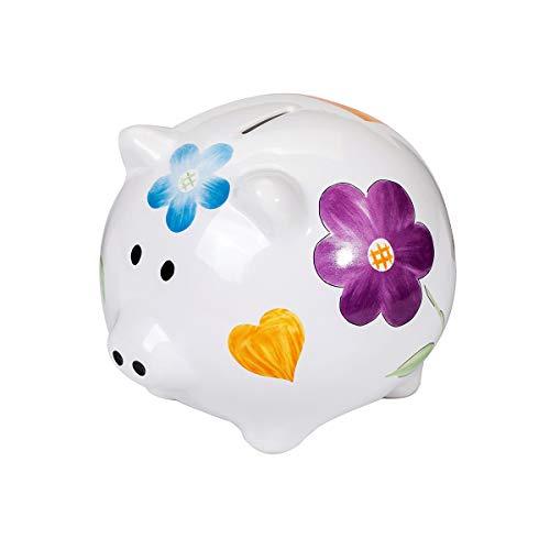 SPOTTED DOG GIFT COMPANY Großes Sparschwein XXL Spardose Weiß Keramik Schwein Sparschweinchen mit farbenfrohem Blumen für Mädchen Erwachsener Teenager Kinder Geschenk mit Box