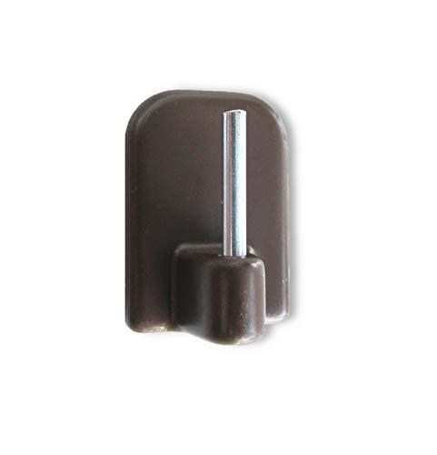 Scheiben-Gardinenhaken - Gardinenhaken selbstklebend für Vitragenstangen - mit extra starker Klebekraft - braun - 4 Stück