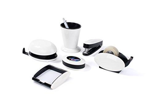 Pavo Trendy Schreibtisch-Set, 6-teilig - Hochglanz mit Stifteköcher, Klammernspender, Locher, Heftgerät, Zettelbox und Tischabrolle, weiß (Set Locher)