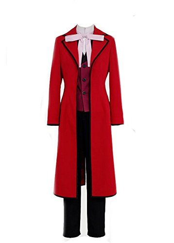 Butler Kostüm Black - Black Butler Shinigami Grell Sutcliff Cosplay Kostüm Rot S