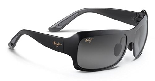 Maui Jim - SEVEN POOLS 418, Rechteckig, Acetat, Damenbrillen, GLOSS BLACK SHADED/NEUTRAL GREY...