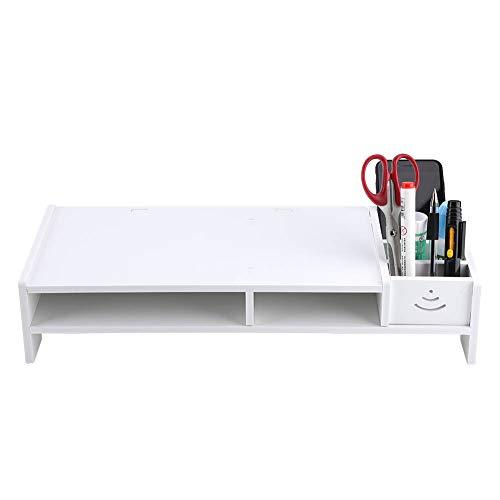 GOTOTOP Weiß Stilvoll Monitorständer, Computer-Monitor-Riser Desktop-Riser aus Holz-Kunststoff-Verbundwerkstoff, 38,2 × 20 × 10 cm