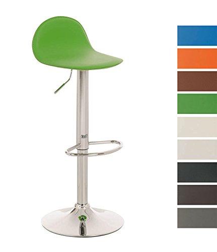 CLP Taburete de Bar LANA con Soprte Metálico y tapizado de Cuero Sintético | Silla de Bar Ajustable con Asiento Ergonómico | Taburete de Cocina Giratorio con Reposapiés, color verde