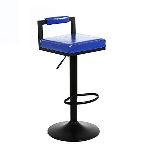 WQZB-Drehstuhl 360° Swivel Frühstück Küche Barhocker Zähler Pub Stuhl Höhe verstellbar (62~82 cm) Weichen Platz Sitz Büro Restaurant Max Last 130 kg (Farbe : Blau) - Zähler Höhe Stühle Hocker