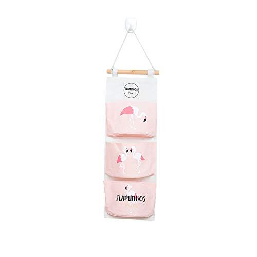 Saniswink Reise-Aufbewahrungstasche, Geschenk, faltbar, zum Aufhängen an der Wand, Baumwoll-Leinen, Pink Flamingo, Einheitsgröße (Pink Up Flamingo Licht)