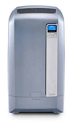 De Longhi Pac Silent Mobiles Klimagerät Pac WE128 (Klimaanlage, Wasser-Luft-Technologie, Max. Kühlleistung 3,2 kW/12.500 BTU/h, Separate Entfeuchtungsfunktion, Geeignet für Räume bis zu 110 m³)