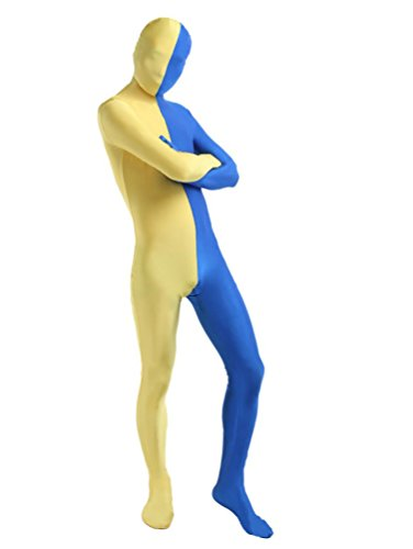 CHENGYANG Déguisement Seconde Peau Color Split Hommes Pour Cosplay Bleu Avec Jaune