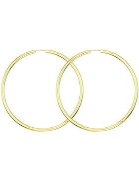Ohrringe, Creolen aus Gelbgold, Außendurchmesser 60 mm, Breite 2.5 mm, Goldlegierung ist frei wählbar, NEU