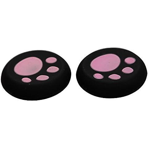 eJiasu 2 pares/4 Piezas universal del pulgar del gato del cojín Stick analógico de silicona Grip Cubiertas Thumbstick cubierta del casquillo de la palanca de mando para PS4 / PS3 / PS2 / Xbox One / Xbox 360 Joypad accesorio (Negro & rosa-2
