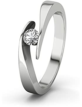21Diamonds Damen-Ring Summertime Verlobungsring weißem Topaz Brillantschliff, Silber Verlobungsringe