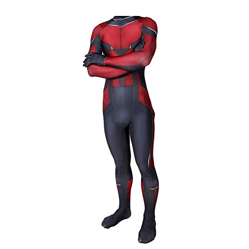 Ant-Man Kind Erwachsener Kostüm Superhelden Cosplay Verkleidung Dress,Halloween Mottoparty Strumpfhosen 3D Drucken Onesies Karneval Overall,Adult-M