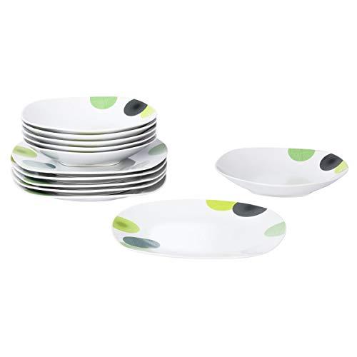 Van Well | 12-TLG. Tafelservice Rondo | edles Teller-Set | Speiseteller + Suppenteller | edles Porzellan-Geschirr | abstrakte Retro-Kreise grün-gelb 12 Teller Set