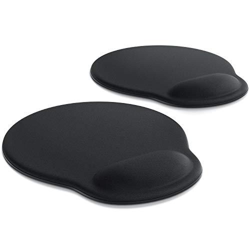 CSL - 2 x Office Komfort Mauspad | ergonomisches Mousepad | mit Schaumstoffkissen als Handballenauflage bequemer als Gelkissen | Entlastung des Handgelenks | Rutschfeste Gummi-Unterseite | 2er Set