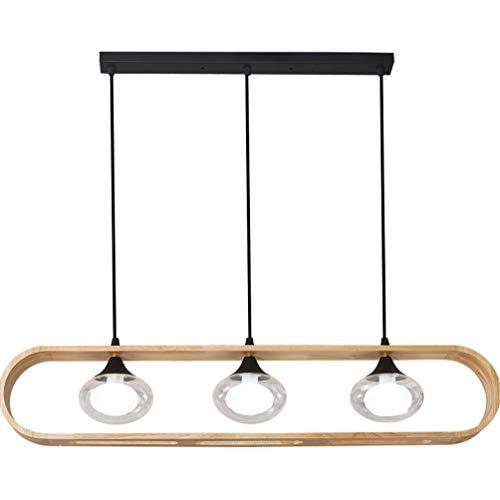 Lámpara colgante de madera creativa Lámpara colgante de vidrio transparente Lámpara colgante...