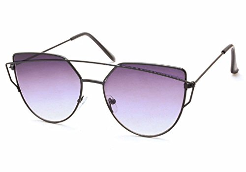Stacle Crossover Browbar Flash Mirrored Cateye Unisex Sunglasses(St7329Golden.Pinkgradientmir|Green)