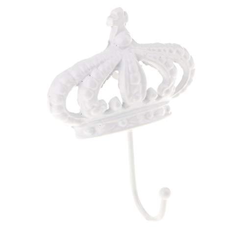GAXIA Home Crown Form Handtuch/Kleiderhaken Rack Schiene Regal mit Einzelhaken Kleiderbügel Home Bad Storage Organizer Wandmontage Weiß 15,5x12,5 cm -