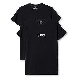 Emporio Armani Stretch BI-Pack Crew Neck T-shirt, Black (Nero), Small