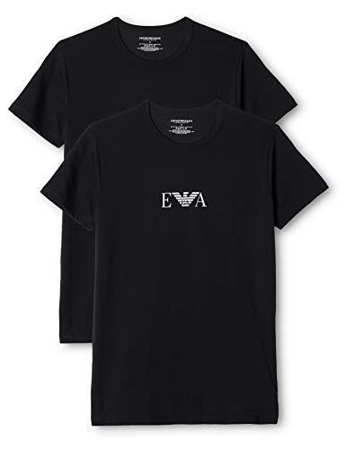 Emporio Armani - T-Shirt a Punta Tonda, Uomo, Noir (Nero), M