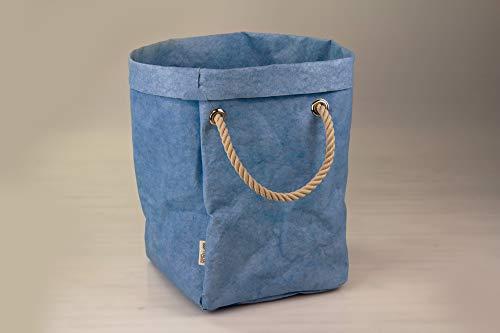 B&P Italia Sacco portabiancheria, Maniglia Effetto Corda di Cotone, colortex, Azzurro, 60cm