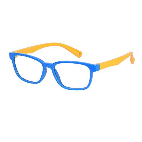 JoXiGo Kinder Brille Ohne Stärke Blaulichtfilter UV Blockieren TR90 Rahmen mit Einstellbare Brillenband + Brillenetui (Kinder Brille Für)