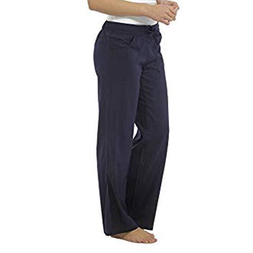 Wawer, modisch, für Damen, reine Farbe, gerade, breites Bein, Damen, einfaches Basic, Outdoor, lässige Hose, große Größe XXXXXL dunkelblau -