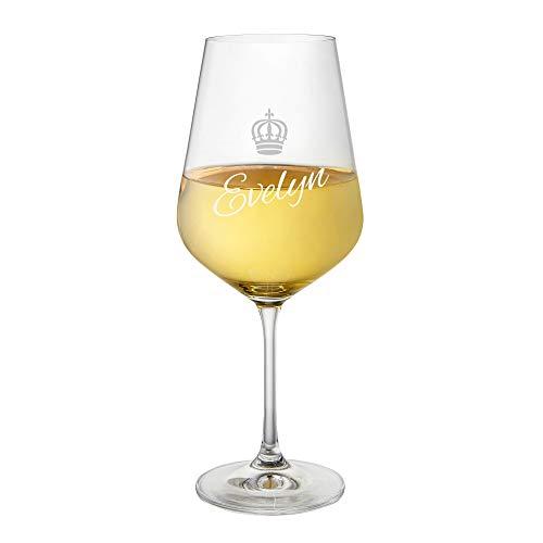 Amavel calice da vino bianco in vetro con incisione - personalizzato con nome - corona da regina - idea regalo per lei - regalo di compleanno, natale o san valentino - bicchiere da collezione