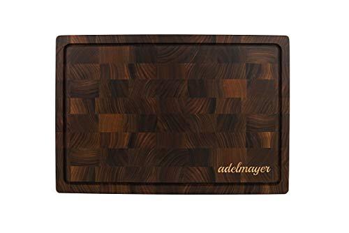 adelmayer® Schneidebrett Holz 45 cm x 30 cm x 4 cm mit Saftrille, Griffmulde aus Walnussholz handgefertigt inklusive Wildledertuch & Pflegemittel