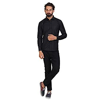 AKAAS Men's Full Sleeve Formal Black Shirt_S