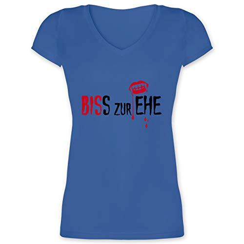 JGA Junggesellinnenabschied - Biss zur Ehe - 3XL - Blau - XO1525 - Damen T-Shirt mit V-Ausschnitt