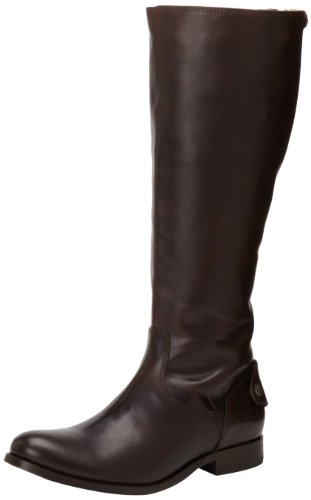 FRYE Women's Melissa Button Back-Zip Boot, Dark Brown Wide Calf Smooth Vintage Leather, 8 M - Frye Melissa Boot Button