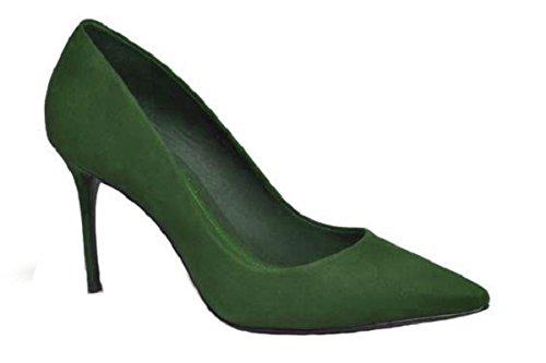 Escarpin en Daim Model Charlysse par HGilliane Design Eu 33 au 44 Vert