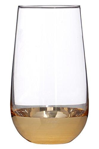 Premier Housewares Horizon Highball Gläser, transparent/Gold, 8x 8x 15cm -