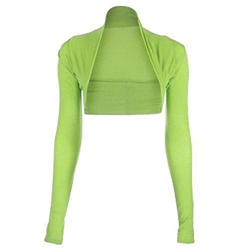 New Womens Ladies Long Sleeved Cropped Bolero Shrug Top Cardigan UK Size 8-14