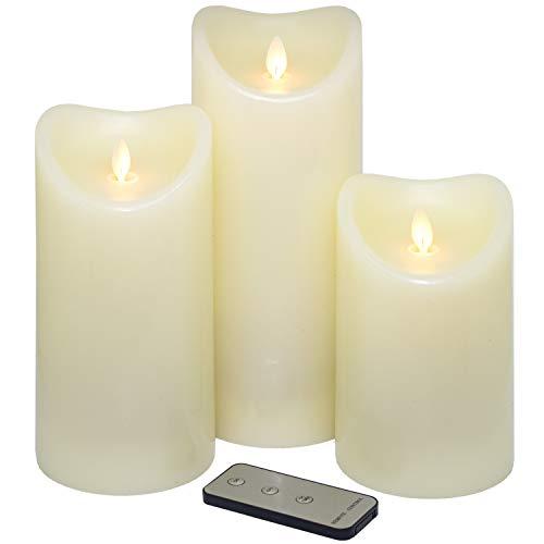Tronje LED Echtwachskerzen 3er Set mit Timer u. Fernbedienung 15/19/23cm Kerzen mit beweglicher Flamme 1000 Std. Leuchtdauer Creme-Weiß