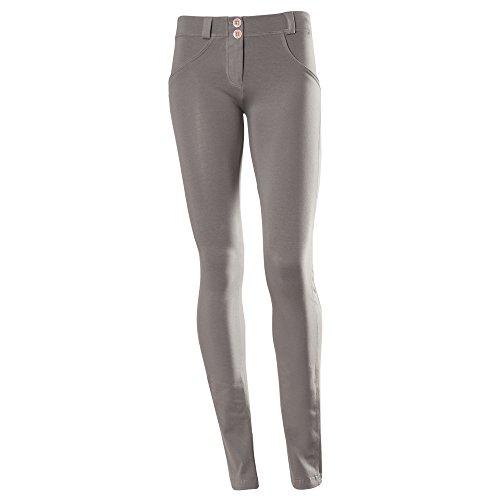 Freddy WR.UP - Pantaloni dritti da donna, a vita bassa, effetto modellante, Medium, grigio
