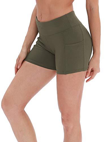 icyzone Damen Tights Shorts Sport Kurze Hosen - Laufshorts Fitness Yoga Leggings (M, Olive)