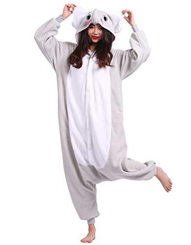 (Jumpsuit Onesie Tier Karton Kigurumi Fasching Halloween Kostüm Lounge Sleepsuit Cosplay Overall Pyjama Schlafanzug Erwachsene Unisex Grau Elefant for Höhe 140-187CM)