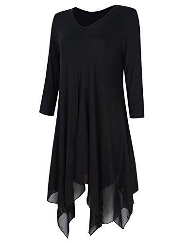 KoJooin Damen Plus Size Tops Casual Loose Longshirts Asymmetrische Chiffon  Säume Übergröße Oversize Lässige Bluse Schwarz Langarm
