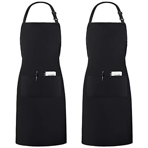 InnoGear 2 Pack verstellbare Schürze mit 2 Taschen kochschürze für Frauen Männer Chef, Schwarz