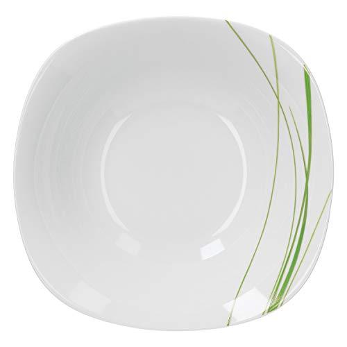 Van Well Servierschale Bali 1.25L | große Buffet-Schale | XL-Servierteller für Salat & Dessert | Schilf-Dekor grün | Porzellan-Geschirr | Gastro (Dekor Bali)