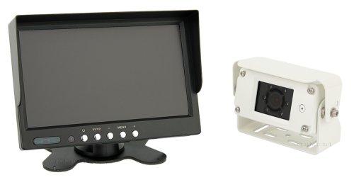 Premium 7 Zoll Farb-Rückfahrsystem mit 7 Zoll Farb-Monitor + Rückfahrkamera mit IP68, Audio & Nachtsicht, inkl. 20 Meter Anschlusskabel (12-24 Volt)