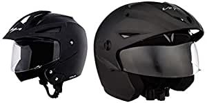 Vega Crux Half Face Helmet (Black, M) & Cruiser CR-W/P-DK-M Open Face Helmet with Peak (Dull Black, M) Combo