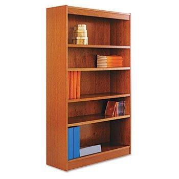 Square Corner Wood Veneer Bookcase, 6-Shelf, 35-3/8 x 11-3/4 x 72, Medium Cherry