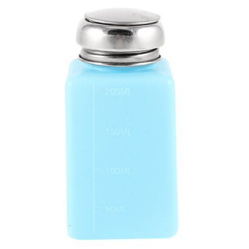 DealMux Metall silbrig Cap 200ml Kunststoff Lagerung von Flüssigkeiten Alkohol Flasche Cyan (Alkohol Flasche Lagerung)