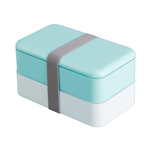 Brotdose lunchbox bento box mit Zwei Fächern Nahrungsmittelbehälter meal Prep Brotbüchse Lebensmittelqualität pp Material inklusive lunchbag,Blue
