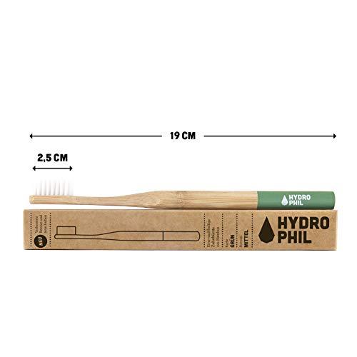 HYDROPHIL nachhaltige Zahnbürste aus Bambus grün 4er Pack mittelweich mittel weich